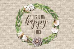 This is my Happy Place Cotton Floral Wreath with Wooden Shabby Chic Background stock photo