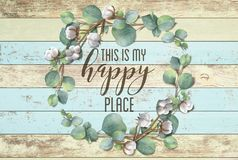 This is my Happy Place Cotton Floral Wreath with Wooden Shabby Chic Background royalty free stock photos