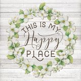 This is my Happy Place Cotton Floral Wreath with Wooden Shabby Chic Background. Typography artwork for printable wall art stock illustration