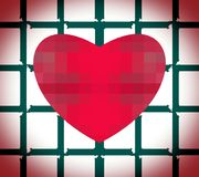 Abstract pattern of pixel red heart out of cage. stock photos