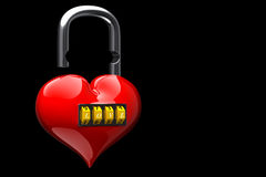 My heart loosen the lock code. Heart loosen locked padlock 3d rendering Royalty Free Stock Photos