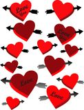 My Heart with Love. Arrows piercing red and burgundy hearts in love for your favorite occasions Royalty Free Stock Image