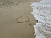 My Heart. A heart made in the sand royalty free stock photos