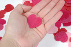 My heart is in your hand. Red heart in hand Royalty Free Stock Images