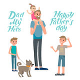 My hero dad. Cartoon characters of family. Dad and his children celebrating father`s Day. Inscription Happy Father`s Day Stock Image