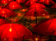 During my holiday in one night. Lamp and umbrella stock photo
