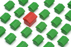 My home. Photo of plastic miniature houses on property concept Stock Image