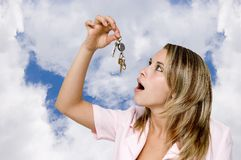 My home keys. Woman hold in hand a bunch of keys Stock Photography