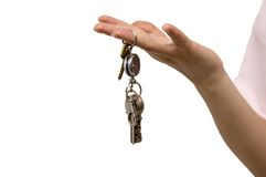 My home keys. Woman hold in hand a bunch of keys Royalty Free Stock Images