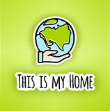 Happy Earth day poster.Hand-drawn Earth in Hand. Line vector icon of the Earth. vector illustration