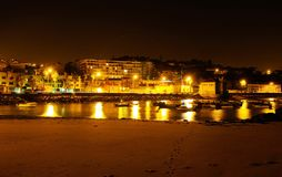Lisbon Outskirts, Night City Waterfront, Cove from Old Fishermen Beach. Small cove from old beach in Paço de Arcos, outskirts of Lisbon, called Old Fishermen Stock Image