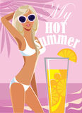 My hot summer, fashion blond girl in swimsuit on sea background. Vector illustration of my hot summer, fashion blond girl in swimsuit on sea background Royalty Free Stock Image
