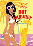 My hot summer, fashion girl on sea background, woman in swimsuit. Vector illustration of my hot summer, fashion girl on sea background, woman in swimsuit Stock Image