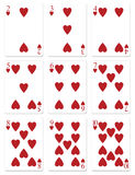 Heart Playing Cards. My illustration of heart playing cards 2 through 10 Royalty Free Stock Photo