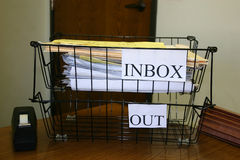 My Inbox. Inbox / Outbox in a corporate office stock photography