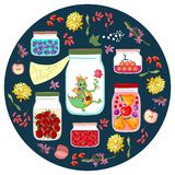 My inner dragon. Cute illustration with different jars with canned fruit jams, vegetables and berries, and cheerful little dino Stock Images