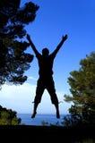 My joy. A man jumping to express his joy Stock Photo