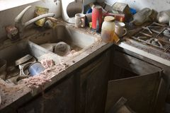 My Kitchen after Katrina, New Orlean, La,. A view of the damage left behind after hurricane katrina. The flood waters from the levy failure rose into the attic Royalty Free Stock Photos