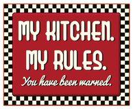 My Kitchen My Rules Retro Vintage Sign. Red checkerboard 1940s 1950s diner style fun vector illustration