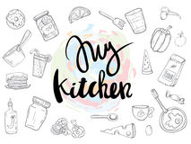 My Kitchen related quotes set poster vector illustration