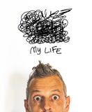 Crazy life. My life is hard in white background Royalty Free Stock Image