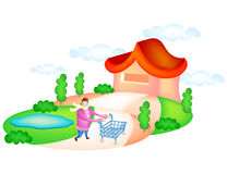 My Life Story. Man pushing shopping cart in fornt of a house Royalty Free Stock Images