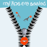 My Lips are Sealed pun message Royalty Free Stock Images