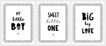 My Little Boy, Big Love and Sweet Little One Posters. vector illustration