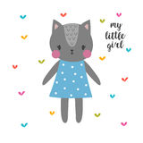 My little girl. Cute cat. Funny postcard for girl Stock Photos