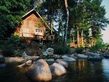 My little hut. The beautiful lake hut in Kandjanaburi Thailand Stock Photography