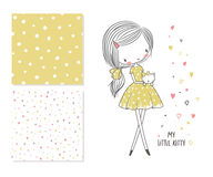 My little kitty. Fashion illustration and 2 seamless patterns Stock Images