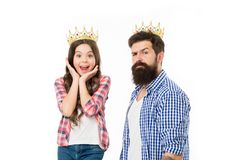 She is my little princess. Bearded man proud of his daughter. Man golden crown and little girl kid princess. Best royalty free stock photo