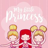 My little princess cute card. With girl vector illustration graphic design vector illustration