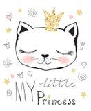 My little princess. Cute little princess cat girl royalty free illustration