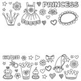 My little princess Hand drawn doodle elements Royalty Free Stock Photos