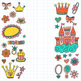 My little princess Hand drawn doodle elements Stock Photos