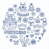 My little princess Hand drawn doodle elements Royalty Free Stock Photography