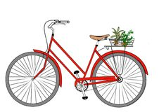 My Little Red Bicycle Royalty Free Stock Images