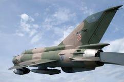 Myśliwski Bojowy samolot MIG 21 Zdjęcia Stock