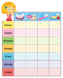 My log. Illustration of a daily routine chart Royalty Free Stock Image