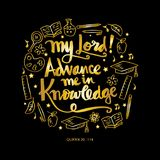 My lord advance me in knowledge. Quote quran. vector illustration