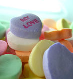 My Love Candy Hearts. A group of candy hearts with My Love as the focal point stock photo