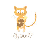 My love. Card with cute cartoon cat who with love looks at chicken quarter Stock Photo