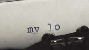 My love - Typed on an old vintage typewriter. Close-up stock video