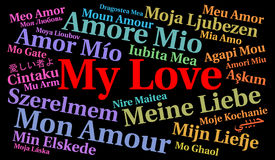 My love word cloud in different languages. Illustration Royalty Free Stock Images