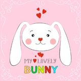 My lovely bunny girl. Hand drawn Valentines Day Greeting card with charming rabbit on white background. Vector illustration Royalty Free Stock Image