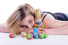 My lovely chocolate rabbit Stock Photos