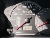 My Lucky Day. Odometer with lots of sevens stock image