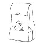 My lunch. Food bag, Lunch bag, lunchbox. Vector line art object. Royalty Free Stock Images