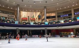 My Mall in Limassol. People ice skating in the shopping mall of Limassol Cyprus stock photo